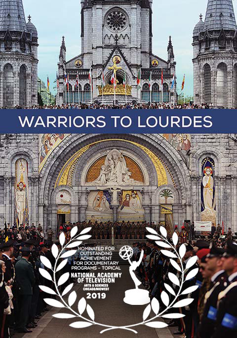 Warriors to Lourdes scene at annual pilgrimage in France with graphic overlay